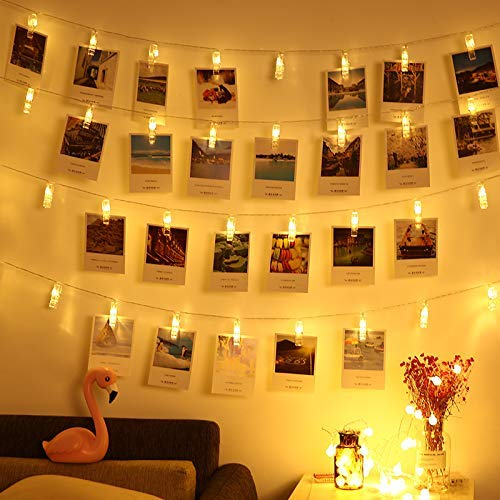LED Foto Clip Lichterketten - 16.4 ft / 5M 40 Foto Clips Batteriebetriebene Foto Clips Lichterketten für die Dekoration Hängendes Foto, Notizen, Weihnachtskarten, Artwork (Warmweiß)