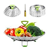 Steamers for Cooking Stainless Steel Vegetable Steamers Basket, Folding Steamer Insert Fits Various Size Pot and InstaPot Pressure Cooker, with Anti-hot Extendable Handle and Non-Slip Legs ((6'-9'))