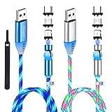 Cable de carga magnético, (2 unidades, 1/2 m) Drtopey 540° giratorio LED 3 en 1, cargador magnético de teléfono, cable magnético Muilt USB, compatible con micro USB, tipo C e iProduct (Gen 1)