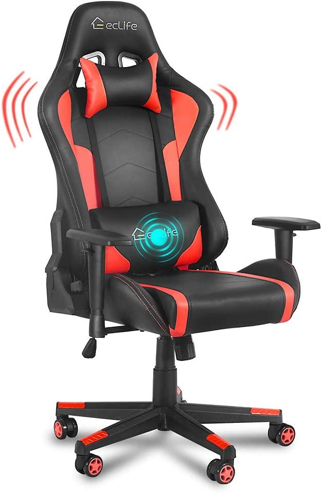 eclife Gaming Chair Ergonomic Racing Task Leather Sales of SALE items from new works Selling and selling PU Red C
