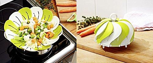 GKA Dünsteinsatz Dämpfeinsatz Dampfgarer 26 cm Einsatz faltbar Dünster garenDampfgareinsatz Kochtopf, Siebeinsatz für schonendes Dampfgaren, für gesundes, zart gegartes Gemüse Silikon