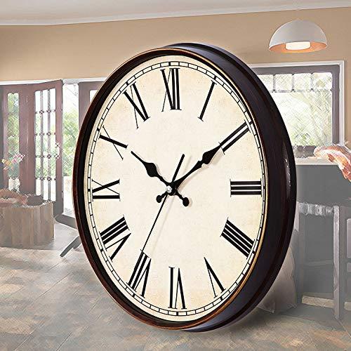 FENGCLOCK Retro römische Ziffer Wanduhr, leise Nicht tickt Runde Wanduhren für Wohnzimmer Küche Schlafzimmer Home Office, Vintage Quarz Uhr,Black