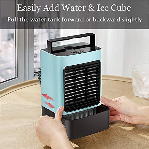 XKESBS Ortable Climatiseur Ventilateur, Personal Air Cooler Bureau Ventilateur Mini Espace Cooler Ventilateur de Table évaporatif USB Rechargeable Ventilateur avec poignée, LED Night Light