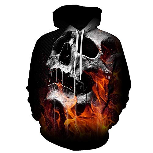 XLGJWY 3D Pullover Hoodies Men'S 3D Printing Hooded Sweatshirt Creative Punk Style Skull Hoodie Fall/Winter Fashion Hoodie Pullover M
