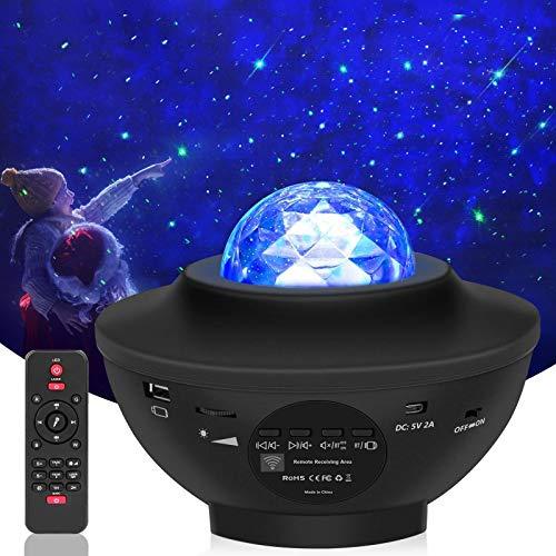 Lampada Proiettore Stelle, Luce Notturna Bambini con 21 Modalità, LED Lampada Musicale Romantica Cielo Stellato, con Telecomando, Timer, Altoparlante, Bluetooth, Regalo per Adulto, Bambini