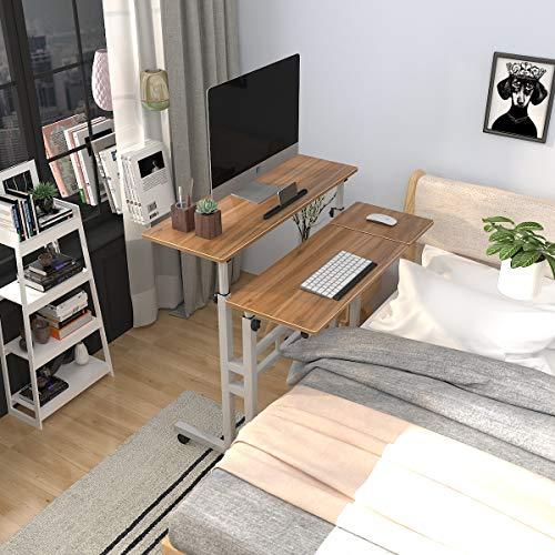 sogesfurniture Mesa Ajustable Altura Mesas para Ordenador móvil,Mesa para Soporte de PC con Ruedas,Mesa para Notebook y Laptop, Roble BHEU-101-2OK