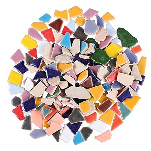 HEALLILY 200G Azulejos de Cerámica Mosaico Irregular Esmaltado Piezas de Vidrio de Mosaico Vitral Rodajas de Cristal Embellecimiento para Manualidades DIY Placas Marcos de Cuadros Macetas