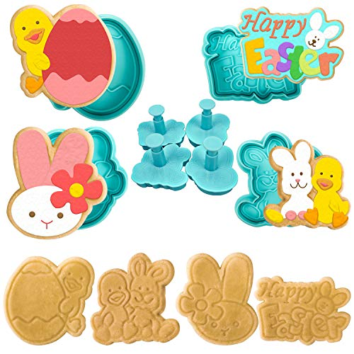 4pcs Easter Cookie Cutters Cutter, Biscuit Cutter, Cookie Cutters Shapes Cookie Cutters for Kids Cookie Press Stamps Cookie Decorating Supplies Easter Party Favors Decoration Supplies (Complex Style)