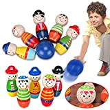 Mallalah Jeu de Quilles Monstres en Bois Creative Cartoon Animals Bowling Set Hands on Dessin Animé Marionnette Jouet Développement Intellectuel Jouet Cadeau