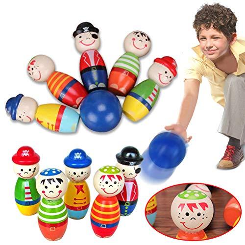 Yissma Kleinkindspielzeug Bowlingkugel Holzspielzeug pädagogische interaktive Holzspielzeug Baby Hands-on Fähigkeit entwickeln Kinder Geburtstagsgeschenk Sport Fitness Spielzeug