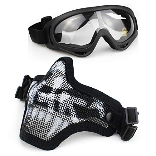Aoutacc Airsoft Mask and Goggles Set, Mezza faccia Full Steel Mesh Mask e occhiali per CS / Caccia / Paintball / Shooting (Black Skull Mask)