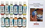 Duncan CCKIT-2 Cover-Coat Opaque Underglaze Paint Set, 12 Colors in 2 Ounce Bottles with Free How to Paint Ceramics Book