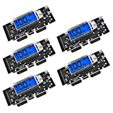 DORHEA 5PCS 18650 Battery Charger Digital Protection Board Dual USB 5V 1A 2.1A Mobile Power Bank Battery Charging PCB Module Board with Digital LCD Charging Module for Phone DIY Mobile Power Bank