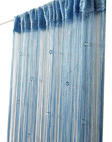 Eve Split Decorative Door String Curtain Bead Wall Panel Fringe Window Divider Blind for Wedding Coffee House Restaurant Parts Crystal Tassel Screen Home Decoration(Sky Blue)