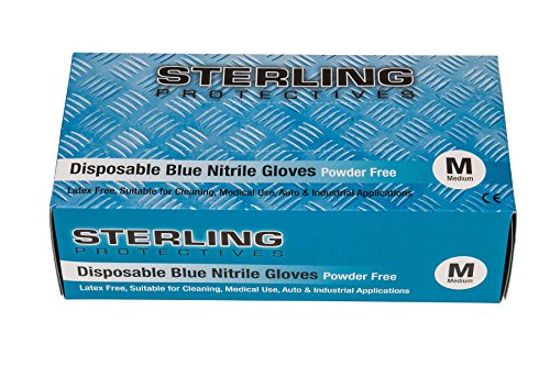 Guantes desechables de nitrilo azul de alta calidad, 100 unidades, sin polvo, AQL 1,5 - Guantes prémium de Gocableties, azul, Medium - Size 8