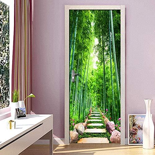 Pegatinas de puerta decoración niños cojín de bambú verde papel tapiz fotográfico 3D decoración del hogar sala de estar moderna puerta del dormitorio pegatinas de puerta 3D-77 * 20 0cm-95 * 215cm