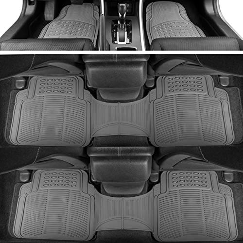 BDK 783-3Row Gray ProLiner Original Heavy Duty 4pc Front & Rear Rubber Floor Mats for Car SUV Van (for 3 Row Vehicles) -All Weather Protection Universal Fit 2005 Dodge Grand Caravan Sxt