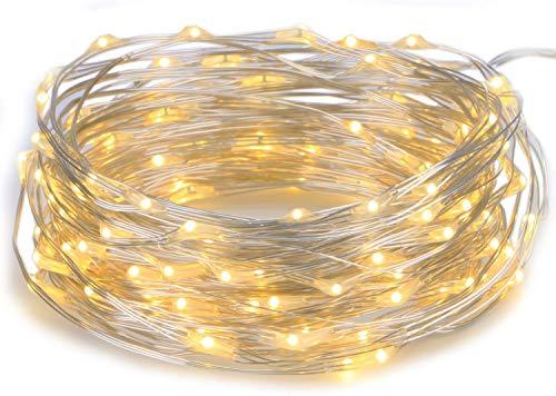 LEDGOO Lichterkette LED Kupferdraht, Lichterketten Warmweiß mit Schalter Sternenlichterkette für Zimmerdekoration DIY Dekoration Weihnachten Party Hochzeit Geburstag Beleuchtung