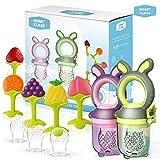 HOMY CLASS - Tétine alimentation bébé tetine grignoteuse bebe sucette tetine fruits mangeoire bebe jouet dentition bébé + 6 tétines sans BPA + anneau dentition réfrigérant (Pack 5)