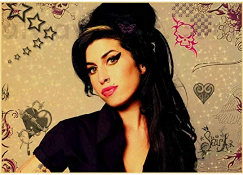 HANJIANGXUE Cotton Canvas Posters Amy Winehouse Vinatge Poster Famous Music Singer Posters and Prints Decor Wall Sticker50*70 Cm Strong Durability