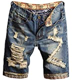 Men's Fashion Ripped Jeans Shorts Distressed Straight Fit Denim Shorts with Holes, 780, US 42 = Tag 44