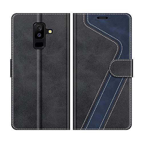 MOBESV Handyhülle für Samsung Galaxy A6 Plus Hülle Leder, Samsung Galaxy A6 Plus 2018 Klapphülle Handytasche Case für Samsung Galaxy A6 Plus 2018 Handy Hüllen, Modisch Schwarz