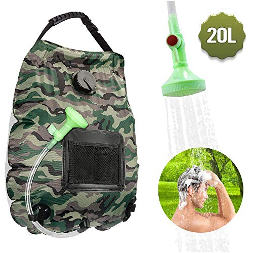 KIPIDA Solarduschen Camping, 20L Duschsack Solar Heizung Camping Dusche Tasche mit Duschkopf & On-Off Switchable, Gartendusche Pooldusche Warmwasser Shower, Outdoor Camping Wandern Wassersack