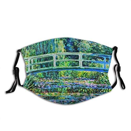 Clásico Monet Water Lily Pond Unisex lavable y reutilizable algodón cálido protección facial para exteriores