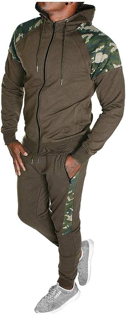Litetao 2019 Men's Jogging Tracksuit Print Sportswear Camouflage Splicing Hoodie Sweatshirt+Jogger Sweatpants