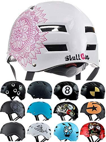 Skullcap® BMX Helm - Skaterhelm - Fahrradhelm - Herren Damen Jungs & Kinderhelm, weiß, Gr. L (58-61 cm), Mandala