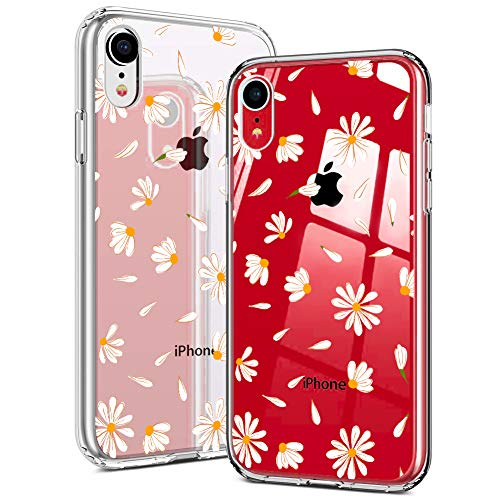 Idocolors Custodia iPhone 6 Plus/6S Plus Cover Protettiva Custodia in Silicone TPU per Apple iPhone 6 Plus/6S Plus Backcover Cellulare Trasparente Margherita