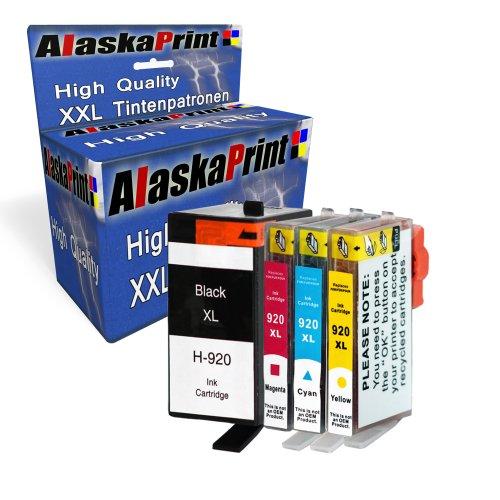 Alaskaprint 4 XXL Druckerpatronen Ersetzt für HP 920XL 920 Kompatibel mit HP Officejet 6500 6500A 6000 7000 Special Edition 7500 7500A Wireless (1BK & C/M/Y)