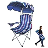 BESTHLS Beach Chair with Canopy Shade Folding Lightweight Portable Camping Chairs with Cup Holder for Adults Kids Outdoor Events for Support 400LBS