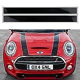 OYDDL Pegatina para el capó de Mini Cooper, rayas de carreras, universal, con paño y rasqueta (blanco y negro)
