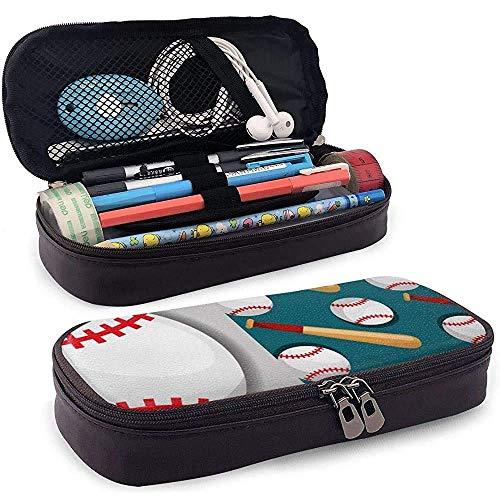 Estuche para lápices de béisbol Bate de béisbol Competencia deportiva Estuche para lápices de cuero Estuche para papelería Bolsa de maquillaje Bolsa de cosméticos de gran capacidad