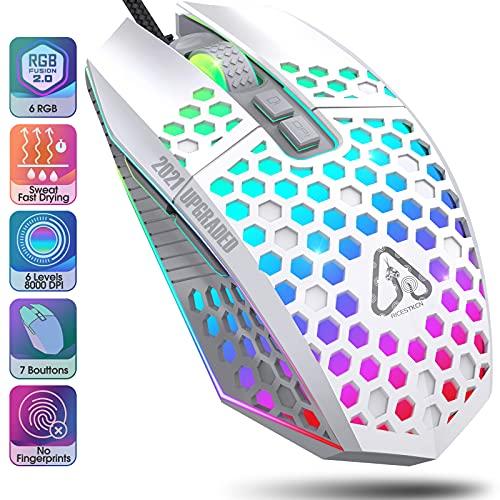 Raton Gaming Raton Ordenador RGB - Ratón Gaming Mouse Gaming Gaming Mouse Raton Gamer USB 7 Botones Programables 6 Niveles a 8000 dpi Ratones Gaming Compatible con PC Windows 7 8 10 xp Linux (Blanco)