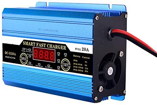 Cargador inteligente de batería, battery charger 12V 20A/30A/40A con función Arranque Motor, Mantenimimiento Automático Controlado por Procesador Inteligente con Pantalla LCD de Múltiples Funciones