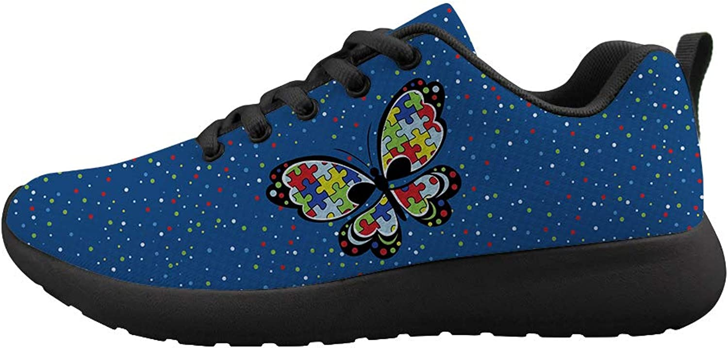 Cushioning Sneaker Trail Running shoes Mens Womens Autism Awareness Puzzle Butterfly