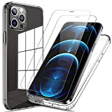FLOVEME Compatible for iPhone 12 Pro Max Case Clear 5G, with 2 Packs Tempered Glass Compatible for iPhone 12 Pro Max Screen Protector, Shock-Absorbing Anti-Scratch NO Bubble [with Installation Frame]