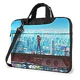 Lsjuee Eva Evangelion Asuka Langley Soryu Borsa multifunzionale per laptop Zaino portatile antiurto monospalla nero