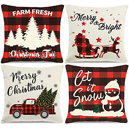 HAJACK Christmas Pillow Covers, Christmas Decorations Throw Pillow Covers, 18x18 Inches Set of 4 Throw Pillow Cases with Holiday Decor, Buffalo Plaid Couch Pillow Case Christmas Winter Decorations
