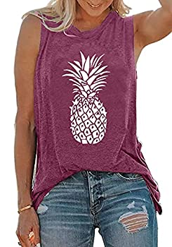 Summer Pineapple Tank Top for Women Casual Summer Graphic Tees Sleeveless Shirts Purple,XL