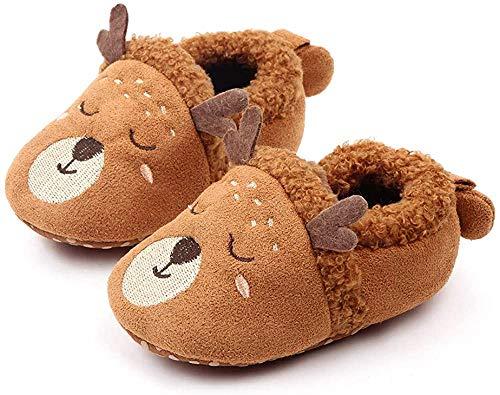 Sabe Babyschuhe, warm, Fleece, niedliche weiche Sohle, für Jungen und Mädchen, Kinderwagen-Schuhe, Geschenk zum ersten Geburtstag, - A1 Braunes Hirsch - Größe: 6-12 Monate