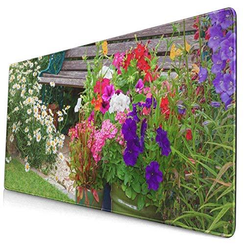 Gaming-Mauspad, Premium-strukturierte Mauspad-Pads, niedliches Mousepad für Spieler, Büro und Zuhause Blue Cottage Garden Holzbank und Blumen in Containern
