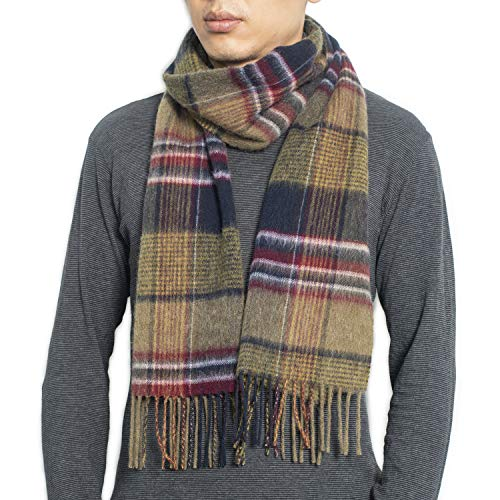 Wool Plaid Tartan Winter Scarf 11.8' x 70.8'100% Lambswool Scarves for Men and Women