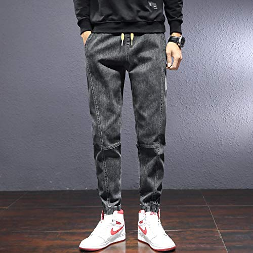 Vaqueros para Jeans Pantalones Pantalones Harem Hombres Otoño InviernoModaCasualPatchwork Pantalones Delgados Espesar Hombre Pantalones Largos M Gris