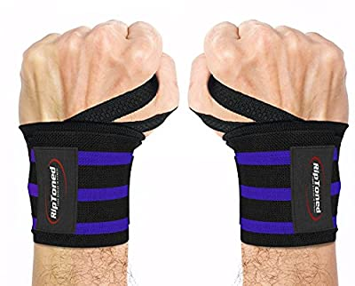 "Rip Toned Wrist Wraps by 18"" Professional Grade with Thumb Loops - Wrist Support Braces - Men & Women - Weight Lifting, Crossfit, Powerlifting, Strength Training - Bonus Ebook (Blue Medium Stiff)"