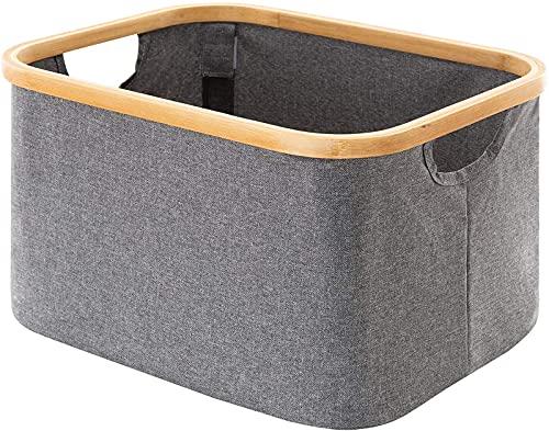 JOK Cesta de lavandería de bambú, Canasta de Almacenamiento de Lona Simple, Lavado Desmontable y Plegable, para organización de Juguetes