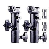 Camera Speedlight Mount Flash Stand Speedlite Umbrella Holder Light Stand Adapter w/Shoe Mount Compatible with Camera Nikon Pentax Olympus DSLR Flash Speedlite LED Light E Type-2 Packs