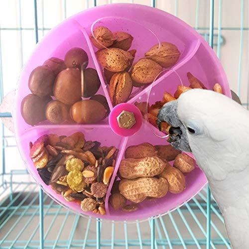 N/0 Juguete de alimentación para Loros de pájaros, Pájaros Juguete Giratorio Juguete de alimentación para Loros, Creativo pájaro forrajeo Juguete Loro Rueda Forma Rompecabezas Juguetes (Púrpura)